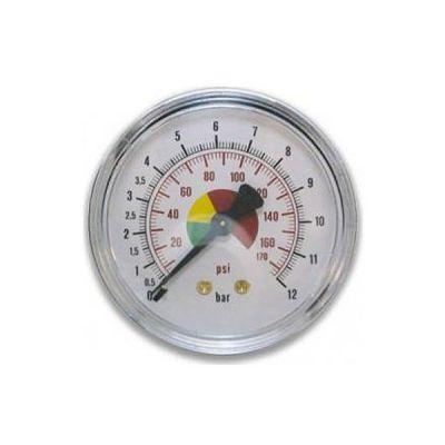Манометр воздушный осевой пружинного типа, цветная шкала, диаметр 63 мм, 0-12 бар Walmec M430/1